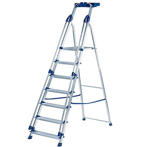 Abru Blue Seal 7-Tread Professional Aluminium Step Ladder 1.147m Silver 10507