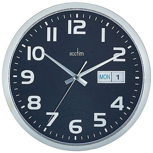 Acctim Supervisor Wall Clock Chrome/Black 21023
