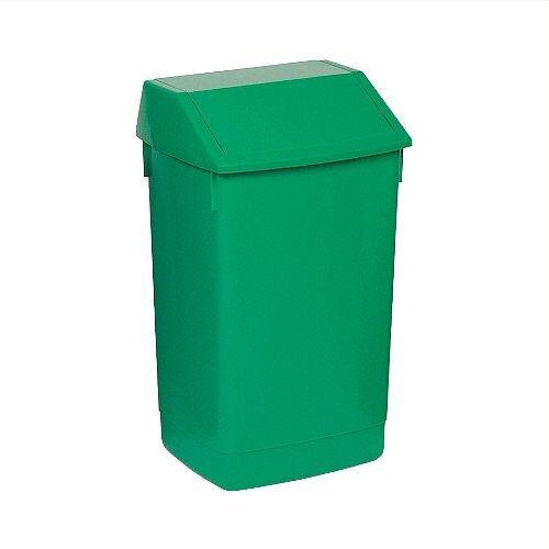 Addis Plastic Flip Top Waste Bin 60 Litres Green
