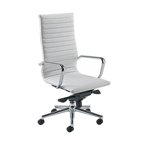 Aria A High Back White Modern Leather Office Armchair With Chrome Arms and Chrome Base AH1
