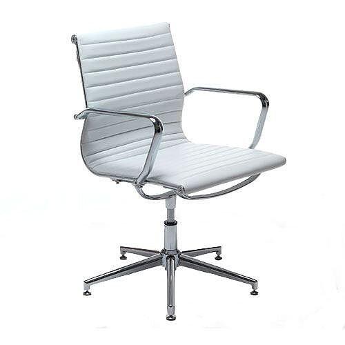 Aria A Medium Back Memory Return Swivel Leather Chair White AM3