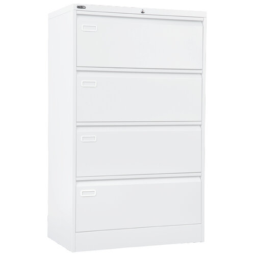 Wide Side Steel Filing Cabinet White 4 Drawer 800mm Wide 1321mm Height