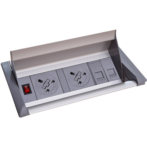 Aero Fliptop In-table Power Module 2 x UK Sockets , 2 x RJ45 Sockets - Grey/Silver