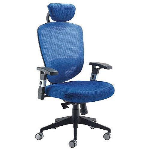 Arista Mesh High Back Task Operator Office Chair with Headrest Blue KF72242