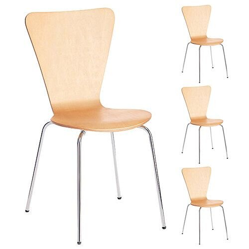 Arista Picasso Wooden Bistro Chair Beech/Silver Set of 4 CH0672BE