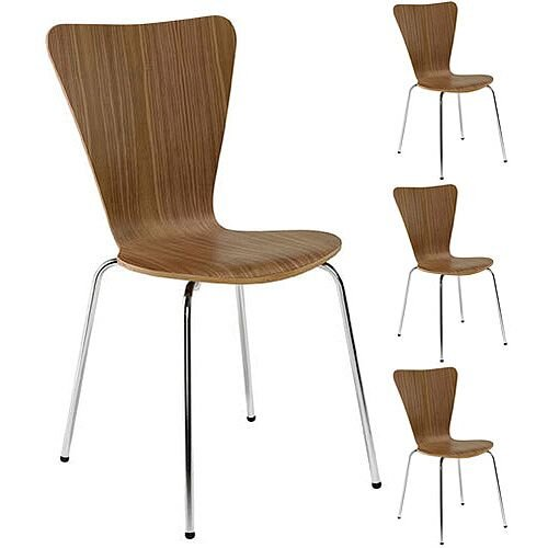 Arista Picasso Wooden Bistro Chair Walnut/Chrome Pack of 4 CH0672WA