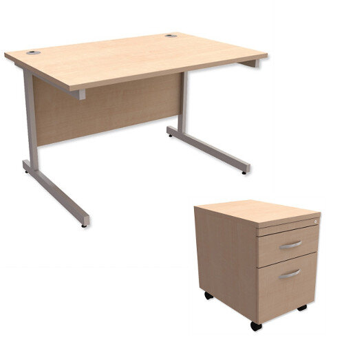Office Desk Rectangular Silver Legs W1200mm With Mobile 2-Drawer Pedestal Maple Ashford