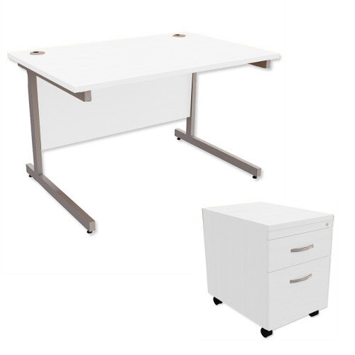Office Desk Rectangular Silver Legs W1200mm With Mobile 2-Drawer Pedestal White Ashford