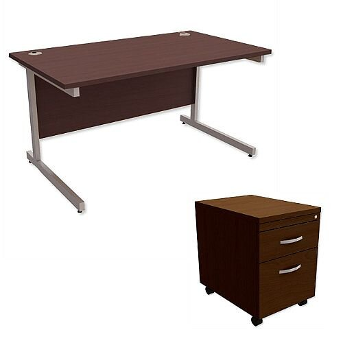 Office Desk Rectangular Silver Legs W1400mm With Mobile 2-Drawer Pedestal Dark Walnut Ashford