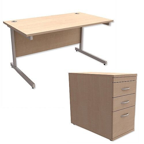 Office Desk Rectangular Silver Legs W1400mm With 800mm Deep Desk High Pedestal Maple Ashford