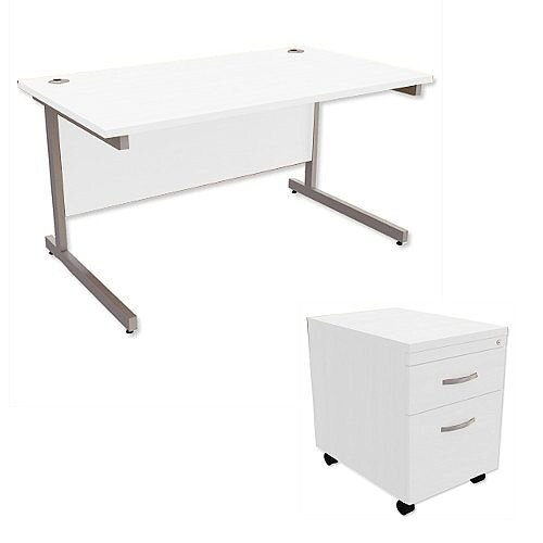 Office Desk Rectangular Silver Legs W1400mm With Mobile 2-Drawer Pedestal White Ashford