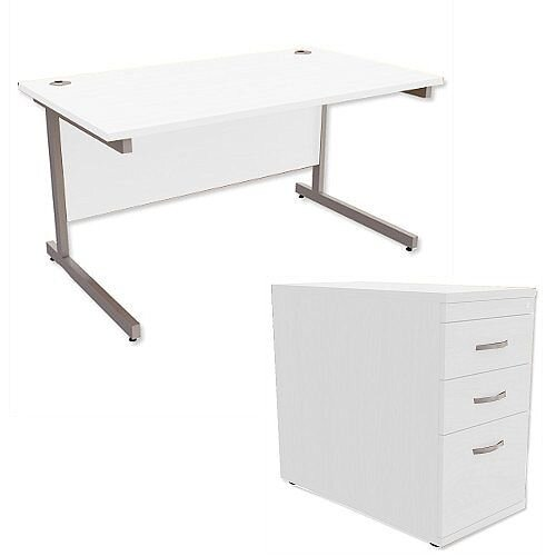 Office Desk Rectangular Silver Legs W1400mm With 800mm Deep Desk High Pedestal White Ashford