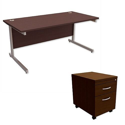 Office Desk Rectangular Silver Legs W1600mm With Mobile 2-Drawer Pedestal Dark Walnut Ashford