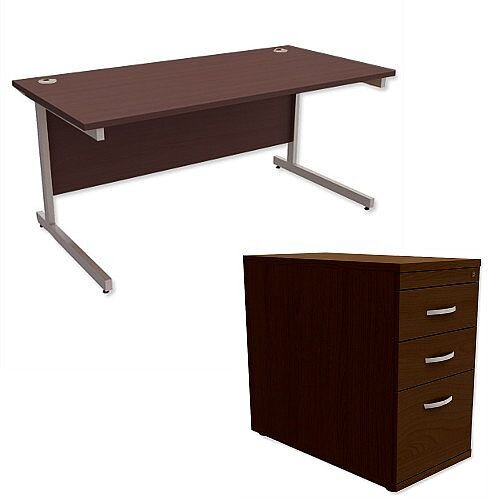 Office Desk Rectangular Silver Legs W1600mm With 800mm Deep Desk High Pedestal Dark Walnut Ashford