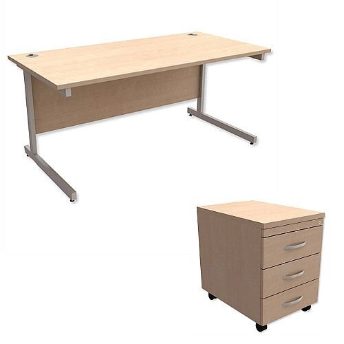 Office Desk Rectangular Silver Legs W1600mm With Mobile 3-Drawer Pedestal Maple Ashford
