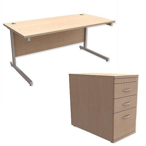 Office Desk Rectangular Silver Legs W1600mm With 800mm Deep Desk High Pedestal Maple Ashford
