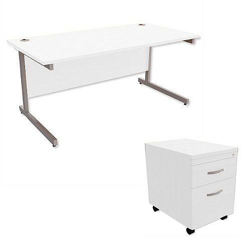 Office Desk Rectangular Silver Legs W1600mm With Mobile 2-Drawer Pedestal White Ashford
