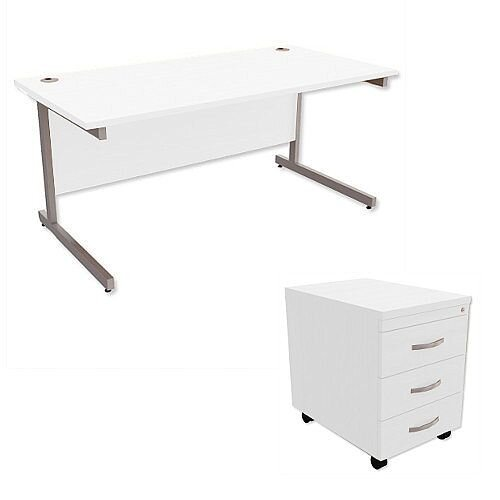 Office Desk Rectangular Silver Legs W1600mm With Mobile 3-Drawer Pedestal White Ashford