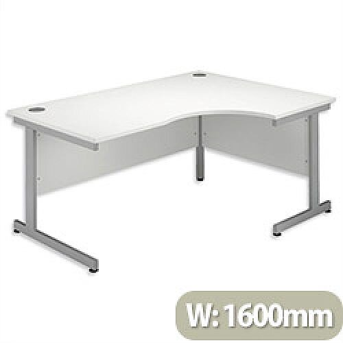 Office Desk Radial Right Hand Silver Legs W1600xD1200xH725mm White Ashford