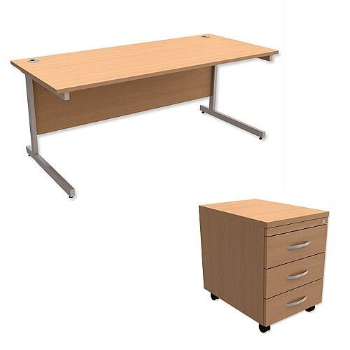 Office Desk Rectangular Silver Legs W1800mm With Mobile 3-Drawer Pedestal Beech Ashford