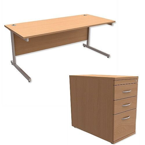 Office Desk Rectangular Silver Legs W1800mm With 800mm Deep Desk High Pedestal Beech Ashford