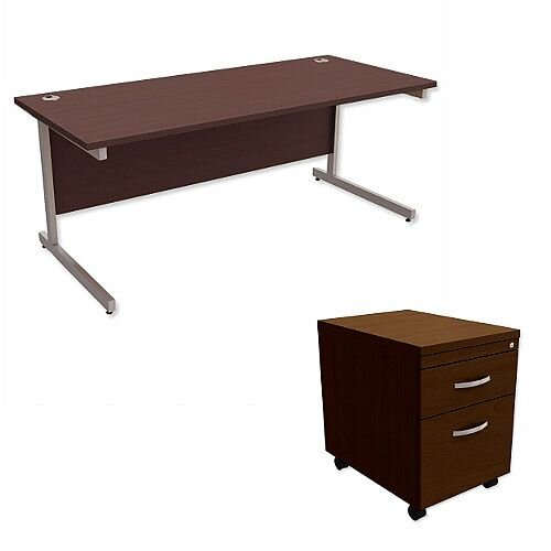 Office Desk Rectangular Silver Legs W1800mm With Mobile 2-Drawer Pedestal Dark Walnut Ashford