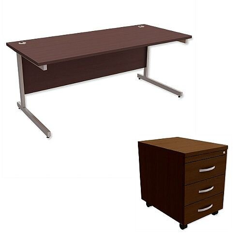 Office Desk Rectangular Silver Legs W1800mm With Mobile 3-Drawer Pedestal Dark Walnut Ashford