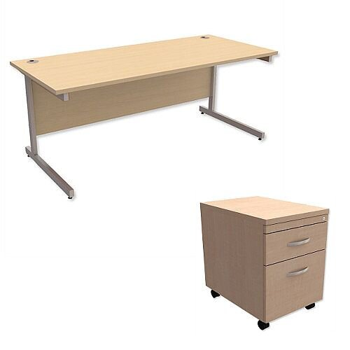 Office Desk Rectangular Silver Legs W1800mm With Mobile 2-Drawer Pedestal Maple Ashford