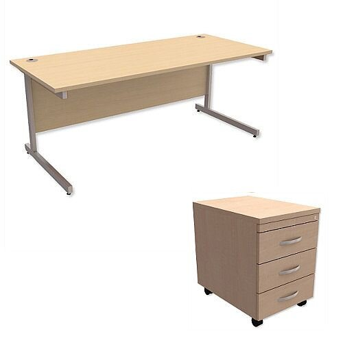 Office Desk Rectangular Silver Legs W1800mm With Mobile 3-Drawer Pedestal Maple Ashford