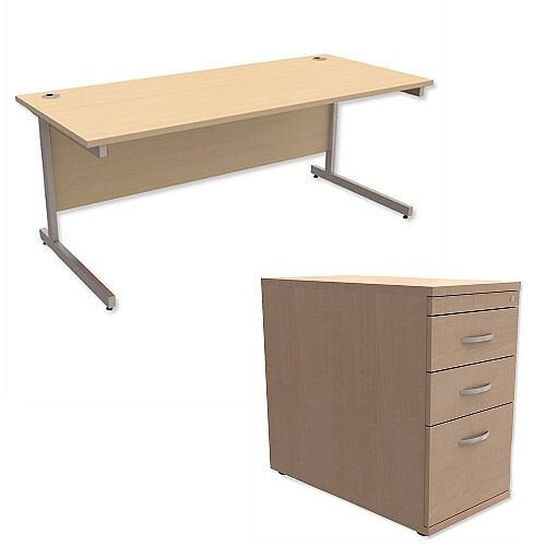 Office Desk Rectangular Silver Legs W1800mm With 800mm Deep Desk High Pedestal Maple Ashford