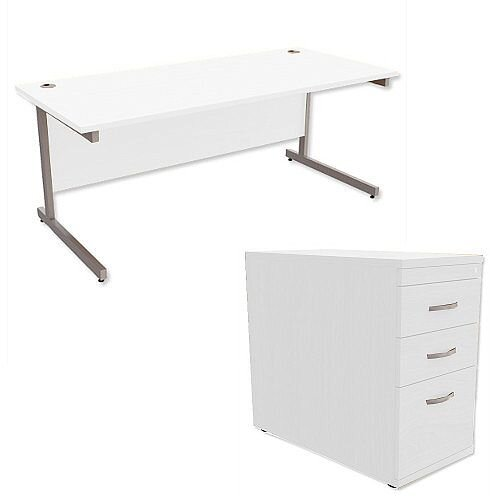 Office Desk Rectangular Silver Legs W1800mm With 800mm Deep Desk High Pedestal White Ashford