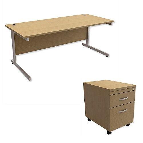 Office Desk Rectangular Silver Legs W1800mm With Mobile 2-Drawer Pedestal Urban Oak Ashford – Cantilever Desk &Extra Storage , 25 Year Warranty
