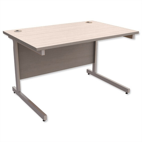 Office Desk Rectangular Silver Legs W1200mm Arctic Oak Ashford