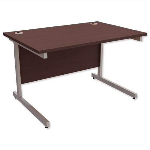 Office Desk Rectangular Silver Legs W1200mm Dark Walnut Ashford