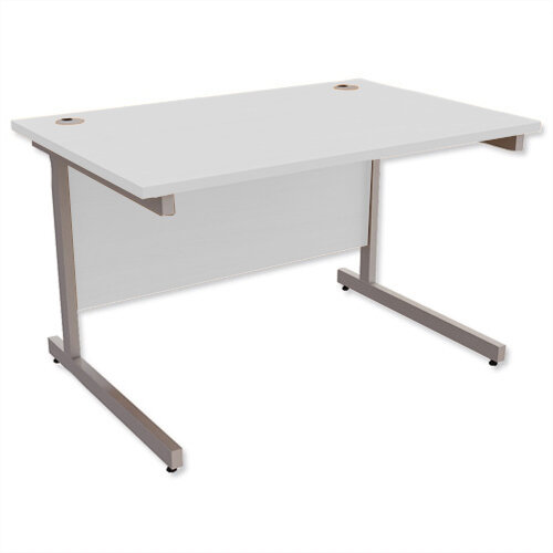 Office Desk Rectangular Silver Legs W1200mm Grey Ashford