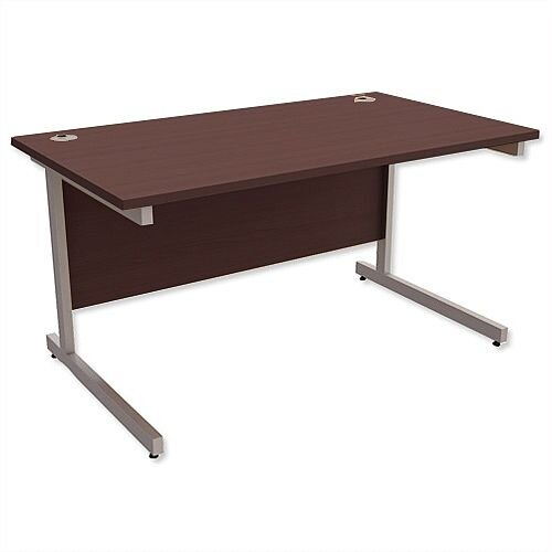 Office Desk Rectangular Silver Legs W1400mm Dark Walnut Ashford