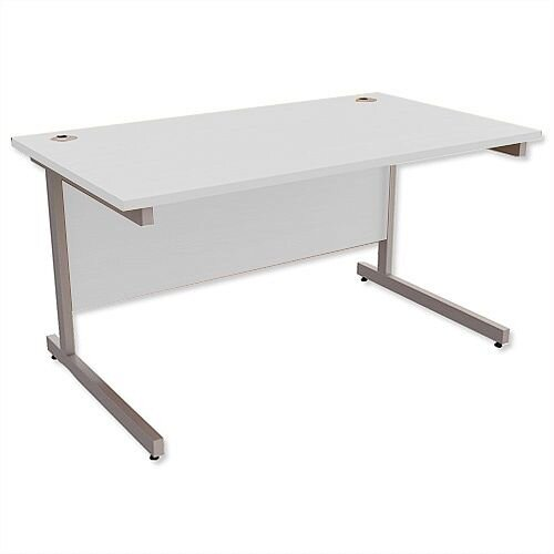 Office Desk Rectangular Silver Legs W1400mm Grey Ashford