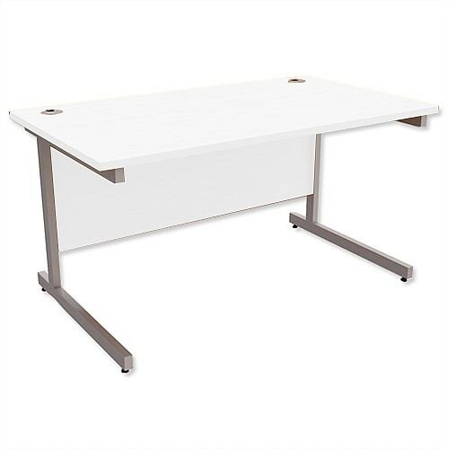 Office Desk Rectangular Silver Legs W1400mm White Ashford