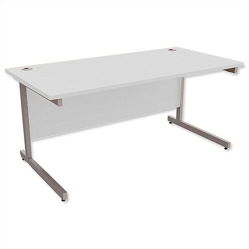 Office Desk Rectangular Silver Legs W1600mm Grey Ashford