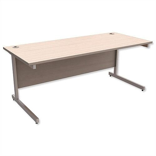 Office Desk Rectangular Silver Legs W1800mm Arctic Oak Ashford
