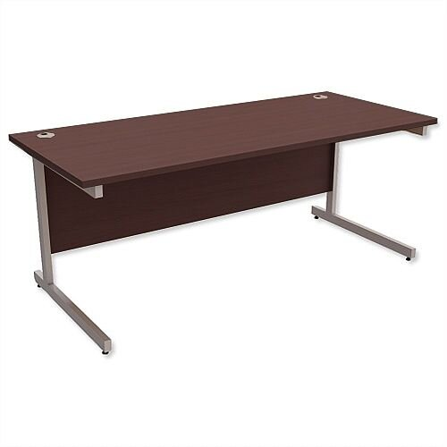Office Desk Rectangular Silver Legs W1800mm Dark Walnut Ashford