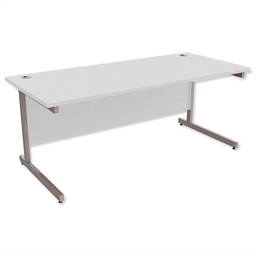 Office Desk Rectangular Silver Legs W1800mm Grey Ashford