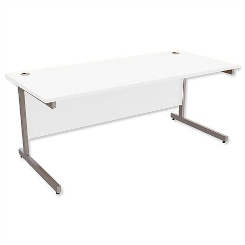 Office Desk Rectangular Silver Legs W1800mm White Ashford