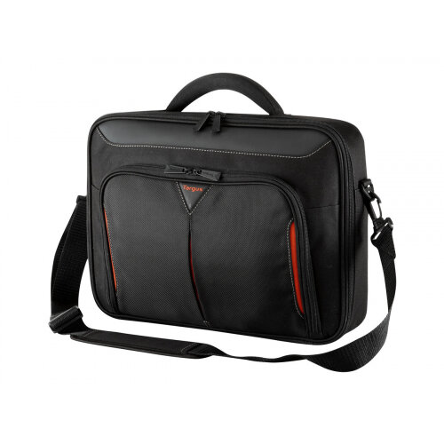 "Targus Classic+ Clamshell Laptop Bag 14.1"" Black Red - Re-enforced adjustable padded handle for extra comfort - functional design, quality & durability"