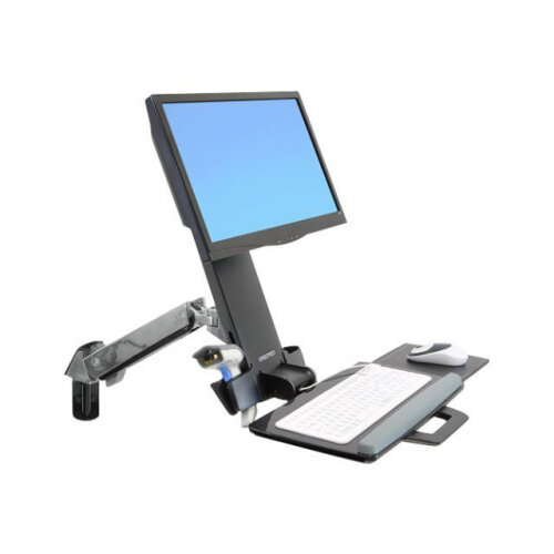 Ergotron StyleView Sit-Stand Combo Arm - Mounting kit (articulating arm, wall track mount) for LCD display / keyboard / mouse / bar code scanner (Lift and Pivot) - plastic, aluminium - screen size: up to 24""