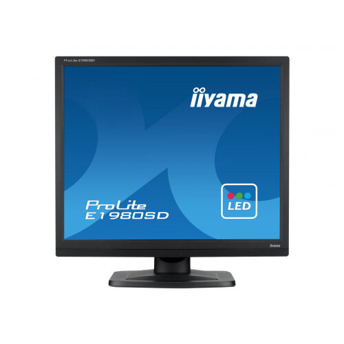 "Iiyama ProLite E1980SD-B1 - LED Computer Monitor - 19"" - 1280 x 1024 - TN - 250 cd/m² - 1000:1 - 5 ms - DVI-D, VGA - speakers - black"