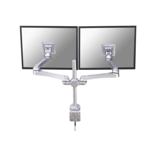 "NewStar Full Motion Dual Desk Mount (clamp) for two 10-30"" Monitor Screens, Height Adjustable - Silver - Adjustable arm for 2 LCD displays - silver - screen size: 10""-30"" - desk-mountable"