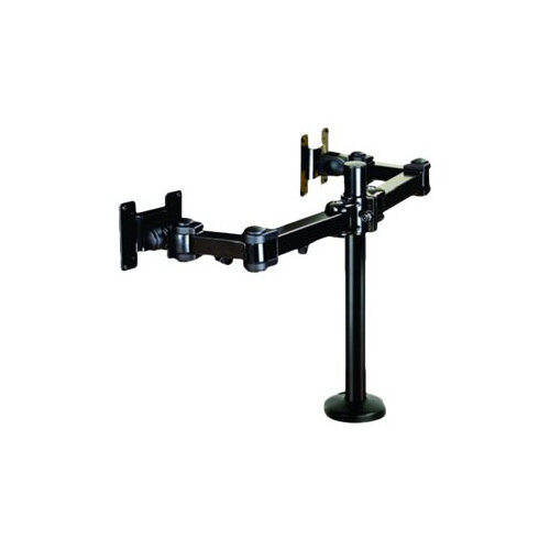 "NewStar Full Motion Dual Desk Mount (grommet) for two 10-27"" Monitor Screens, Height Adjustable - Black - Desk mount for 2 LCD displays (Tilt &Swivel) - black - screen size: 10""-27"""
