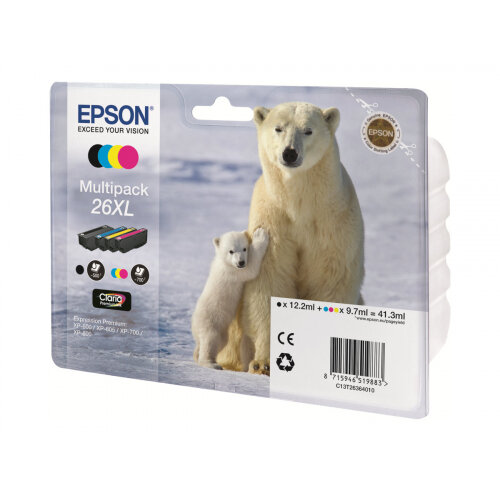 Epson 26XL Multipack - 4-pack - XL - black, yellow, cyan, magenta - original - ink cartridge - for Expression Premium XP-510, 520, 600, 605, 610, 615, 620, 625, 700, 710, 720, 800, 810, 820