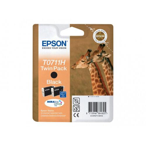 Epson T0711 Twin Pack - 2-pack - high capacity - black - original - blister - ink cartridge - for Stylus SX210, SX215, SX410, SX415, SX510, SX515, SX610; Stylus Office B1100, BX310, BX610